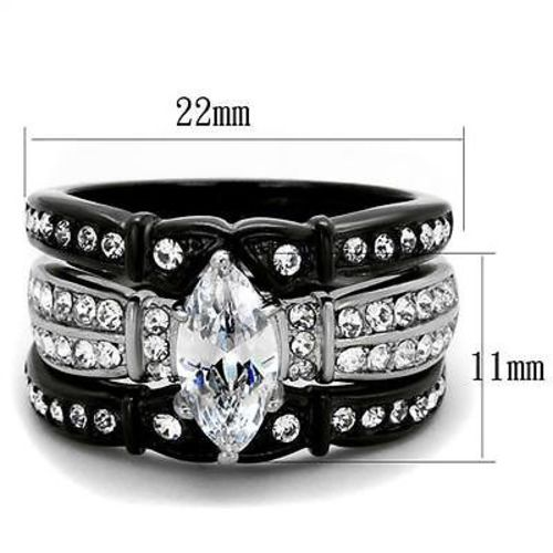 Thin Silver Line Marquise Cut Stainless Steel 3 Ring Set