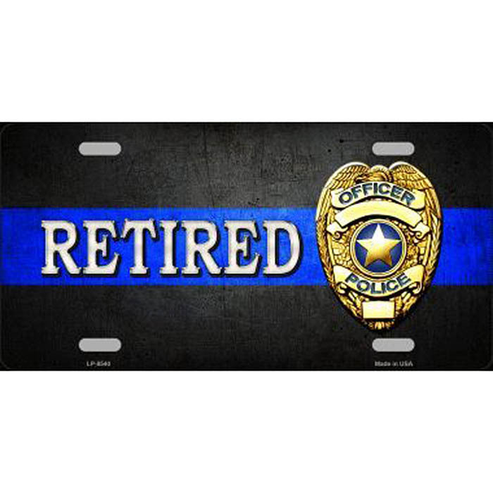 Retired Police Officer Metal License Plate