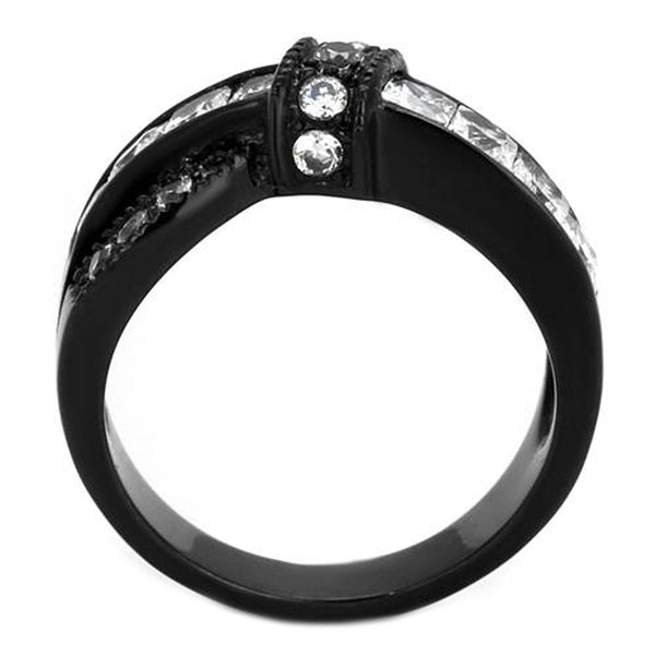Thin Silver Line Clear CZ Black Stainless Steel Twist Ring