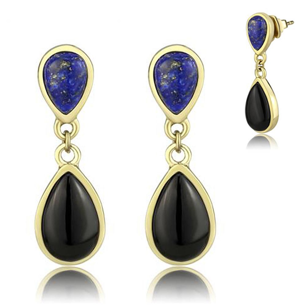 Thin Blue Line Golden Drop Stainless Steel Earrings