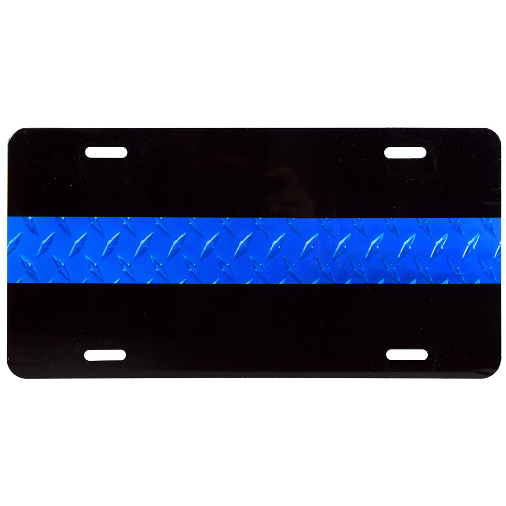 License Plate Textured Thin Blue Line on Black