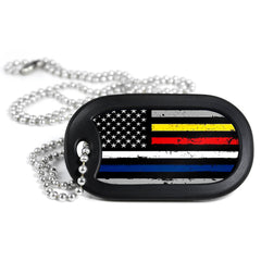 American Flag Multi Line Metal Dog Tag Necklace