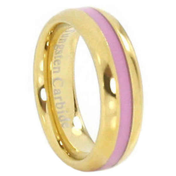 Breast Cancer Awareness 6mm Golden Tungsten Ring