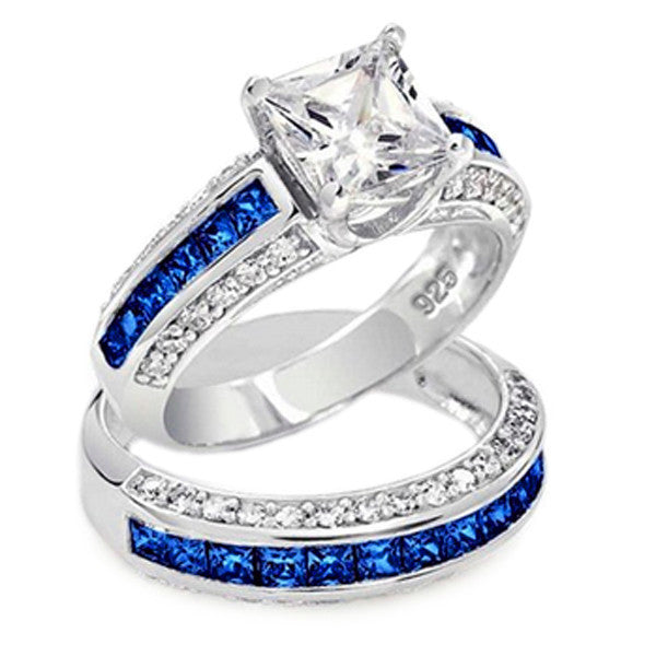 Thin Blue Line 3.585 cttw Princess Cut Engagement Ring Set Blue CZ Accents