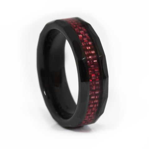 Thin Red Line Ceramic Scalloped Ring Red Fiber Inlay 6MM