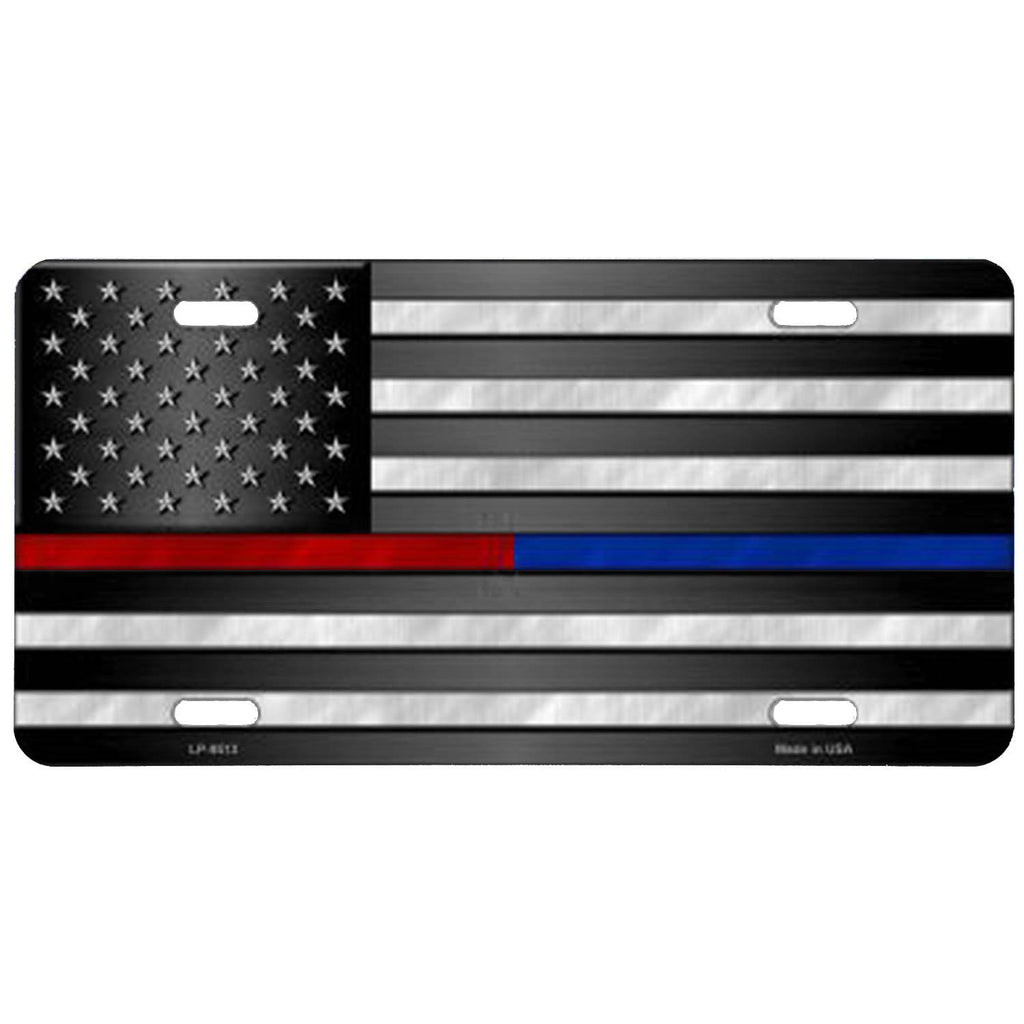 Thin Red and Blue Line on American Flag License Plate