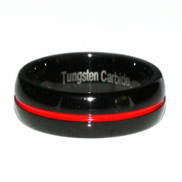 Thin Red Line Tungsten Carbide Ring Dome Shaped Black with Red Channel 7MM
