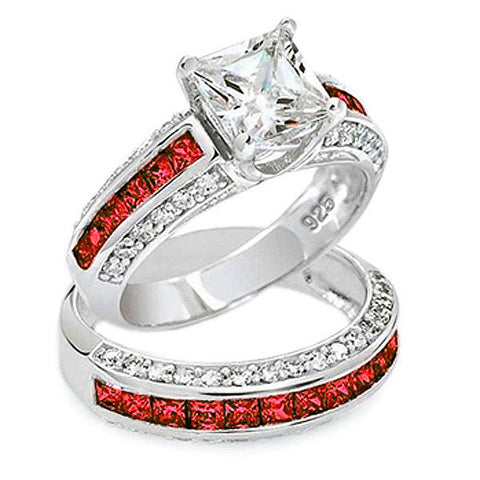 Thin Red Line Princess Cut 2 Ring Set