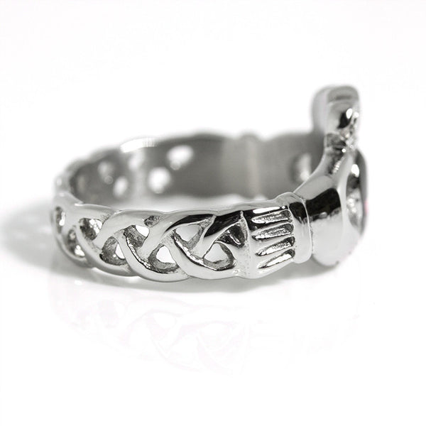 Thin Red Line Stainless Steel Claddagh Ring Side View