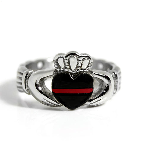 Thin Red Line Stainless Steel Claddagh Ring Front View