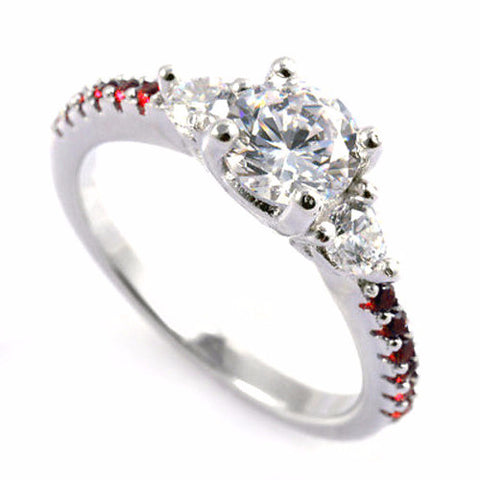 Thin Red Line Round CZ Engagement Ring Red Accents