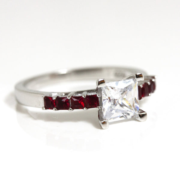Thin Red Line Princess Cut CZ Sterling Silver Engagement Ring w/ 8 Red Accents