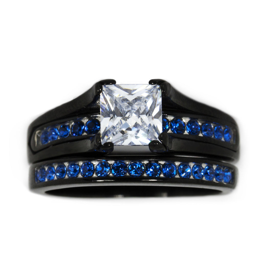 Thin Blue Line Stainless Steel Princess Cut CZ Wedding Ring Two Ring Set