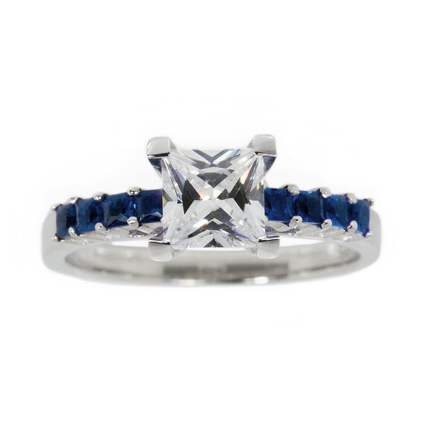 Thin Blue Line Princess Cut CZ Sterling Silver Engagement Ring w/ 8 Blue Accents