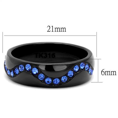 Thin Blue Line Wavy in Black Stainless Steel Crystal Stones