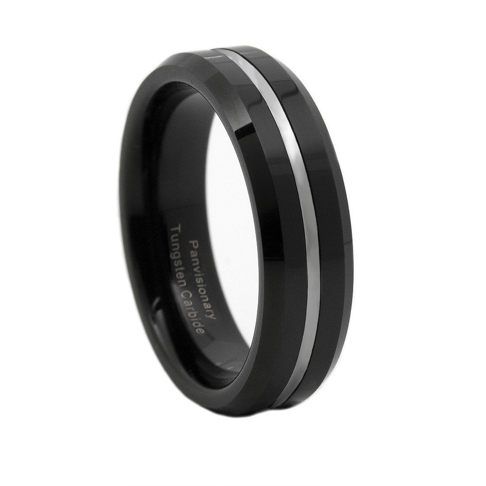 Thin Silver Line 6mm Tungsten Ring