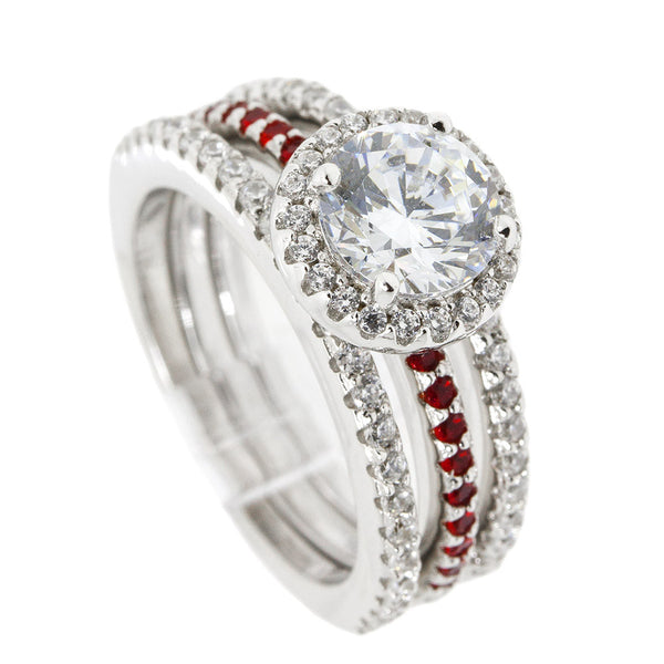 Thin Red Line 3 Ring Engagement Set