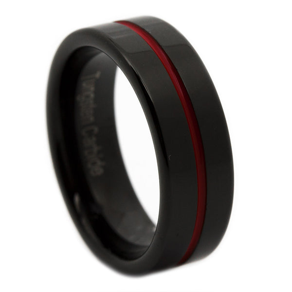 Thin Red Line Tungsten Ring 6MM Flat Thin Profile