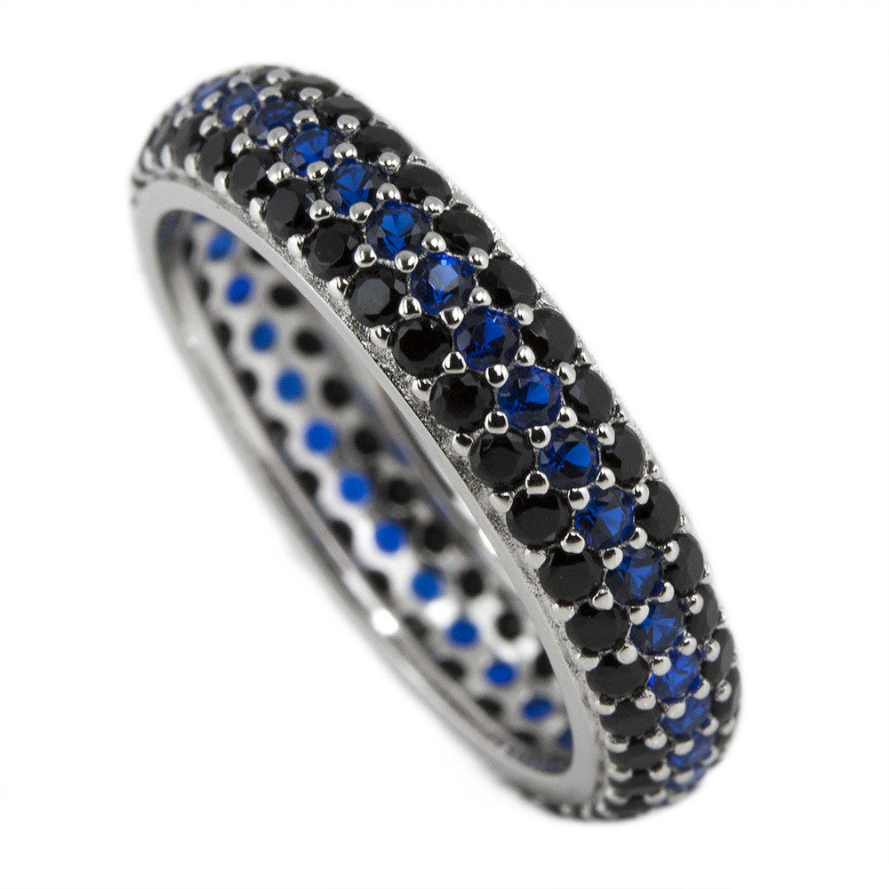 Eternity Thin Blue Line Black and Blue Ring