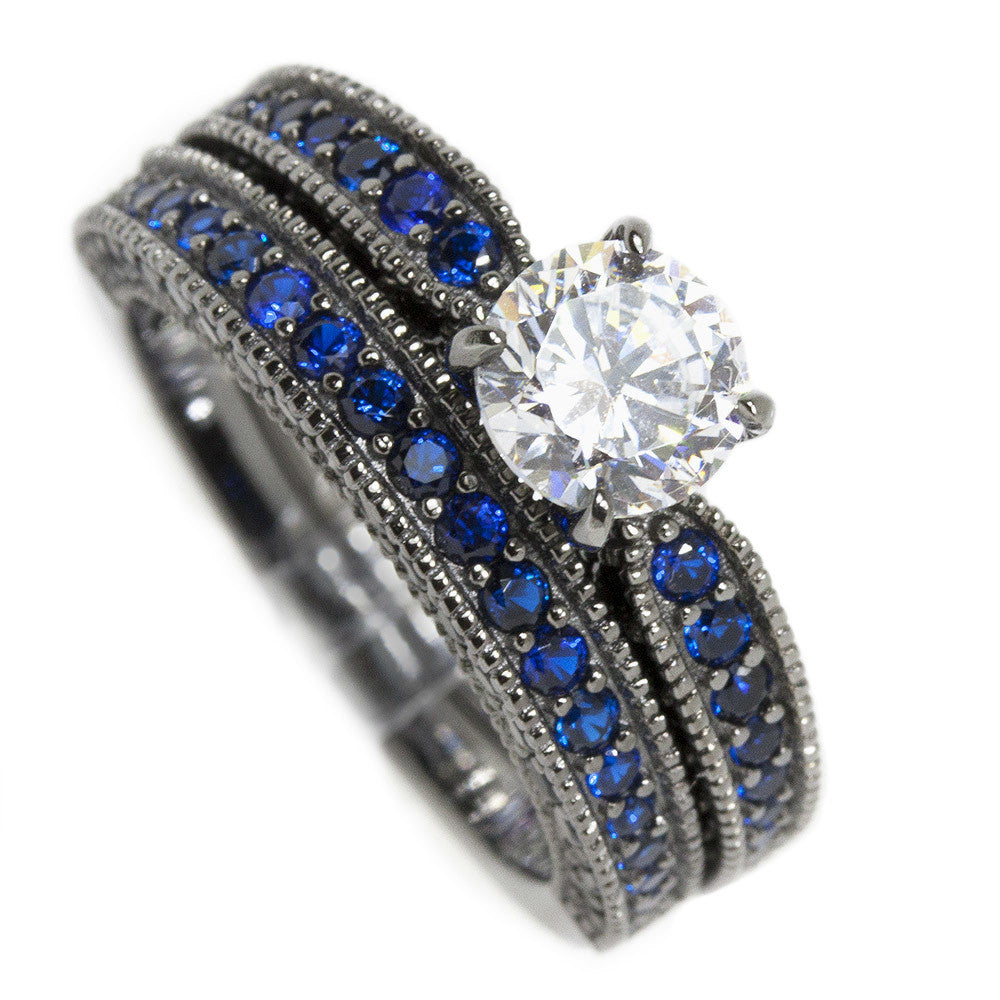 Thin Blue Line Gunmetal Sterling Clear & Blue CZ Engagement Set