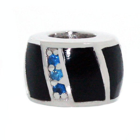 Thin Blue Line Sterling Silver Charm Onyx CZ Bead fit all popular bracelets