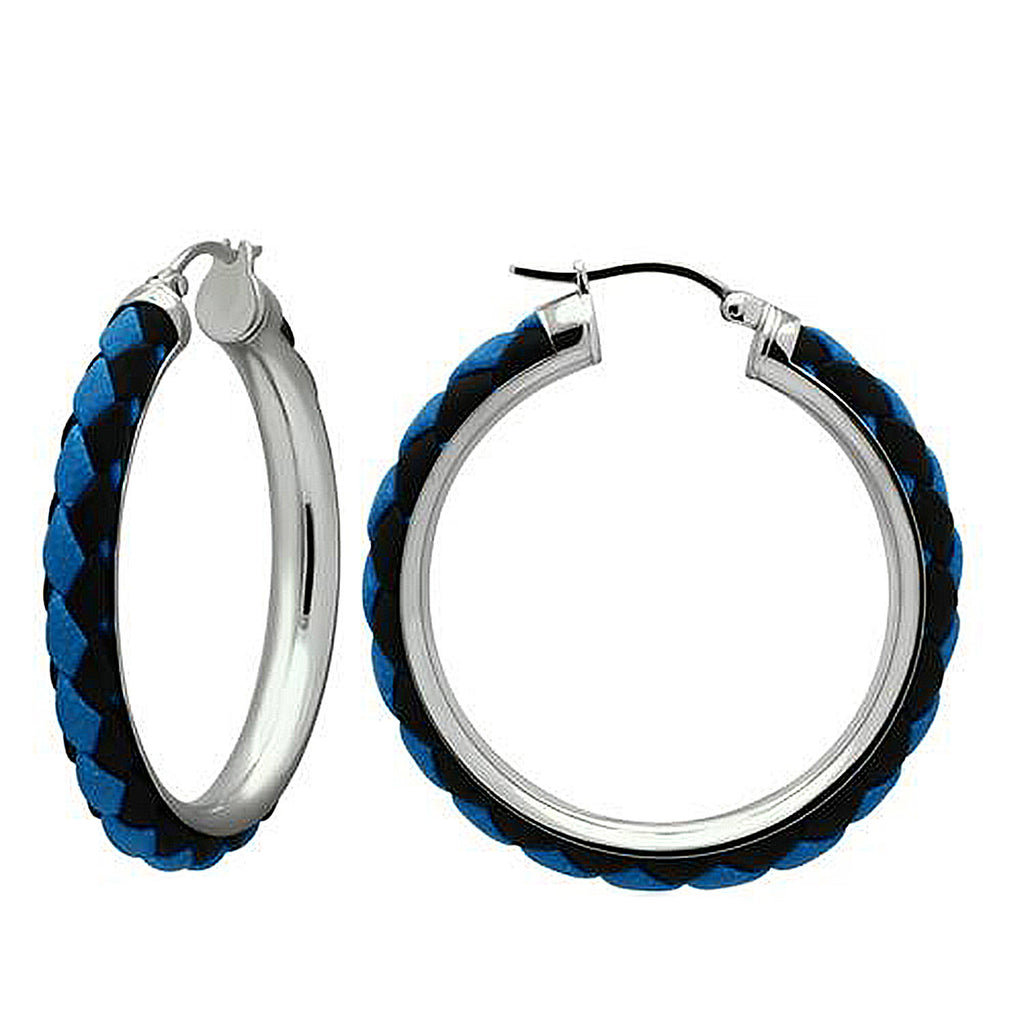 Thin Blue Line Braided Large Hoop Earrings
