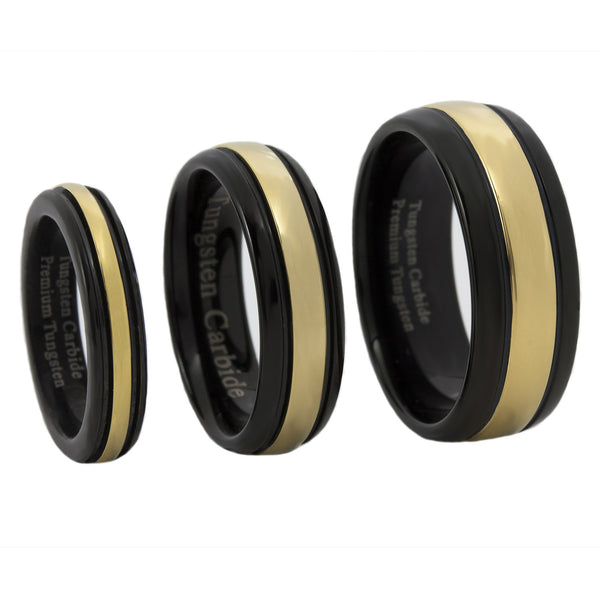 Gold and Black IP Tungsten Carbide Thin Gold Line Dispatch Ring 4MM