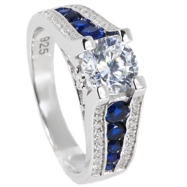 Thin Blue Line Engagement Ring Sterling Silver CZ Clear Brilliant Cut w/ Blue Accents