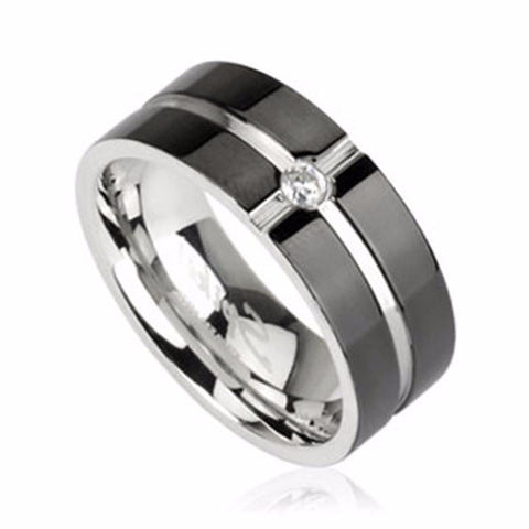 Thin Silver Line Corrections Cross Ring with CZ Stainless Steel