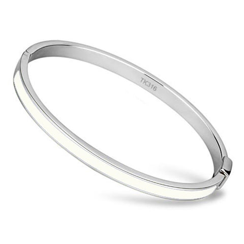 Thin White Line Stainless Steel Bangle with White Epoxy Stripe