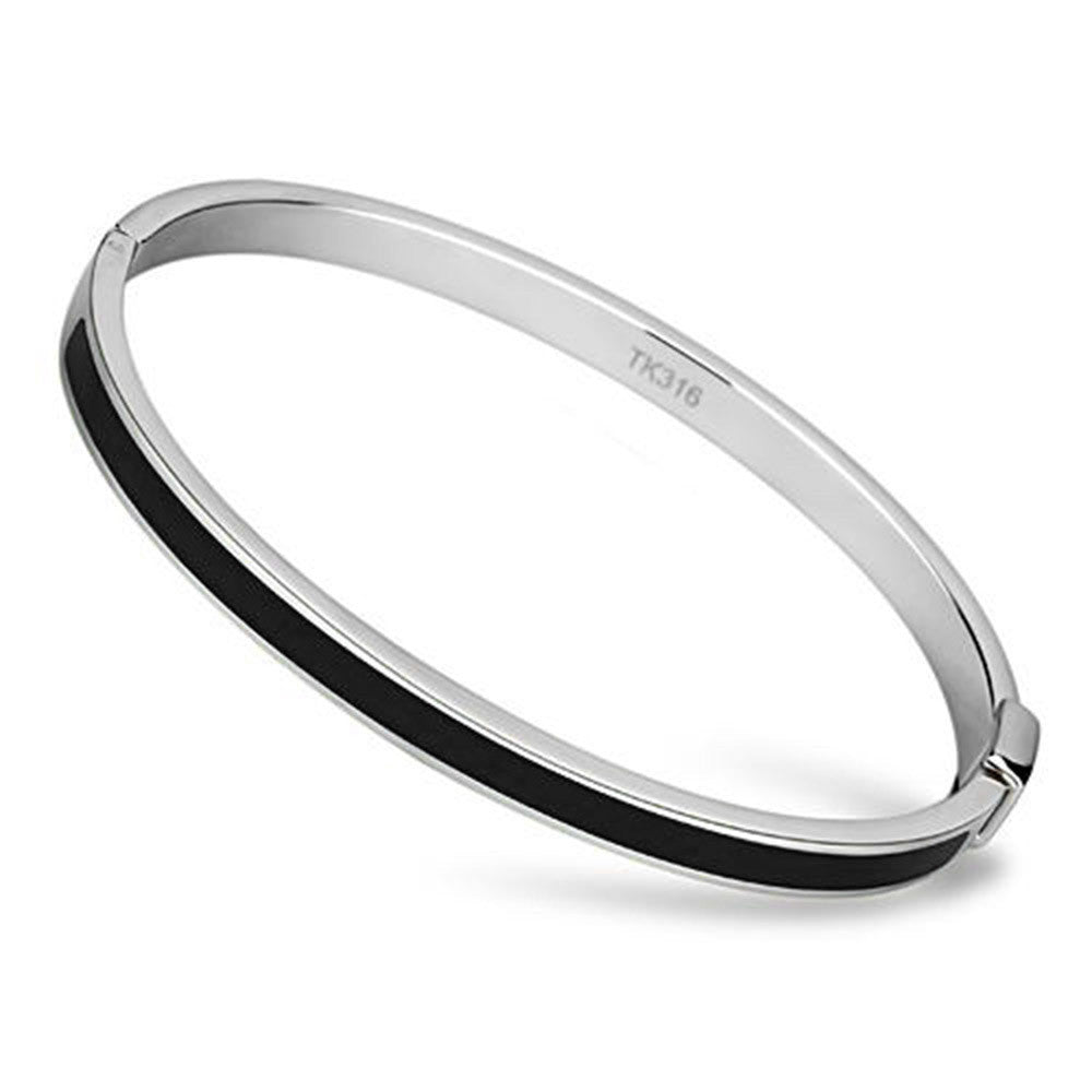 Thin Black Line Stainless Steel Bangle with Black Epoxy Stripe