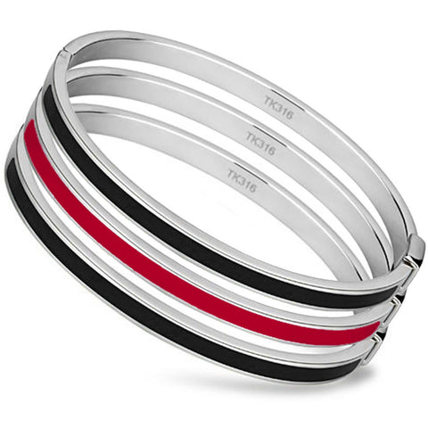 Thin Red Line Bangle Set