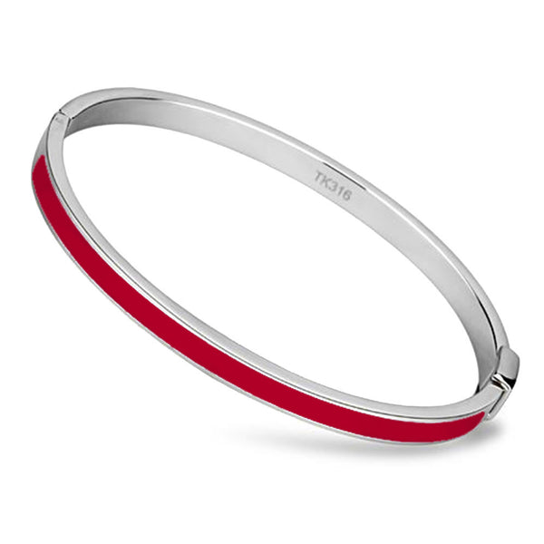 Thin Red Line Bangle Stainless Steel and Epoxy