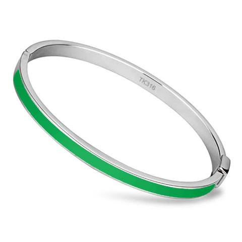 Thin Green Line Bangle Stainless Steel and Epoxy