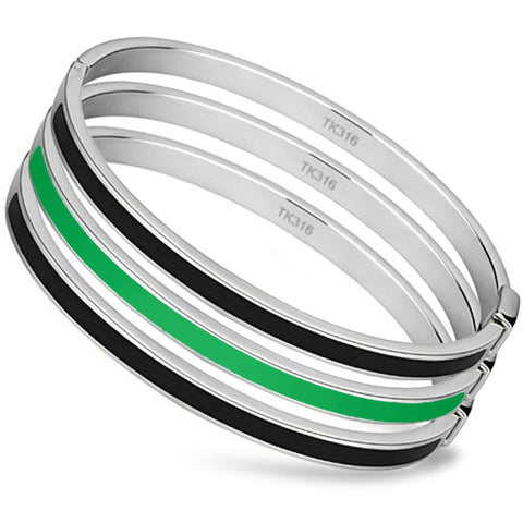 Thin Green Line Bangle Set