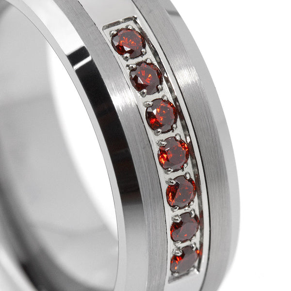 Thin Red Line Brushed Tungsten Carbide Ring 7 Red CZ Diamonds 8MM