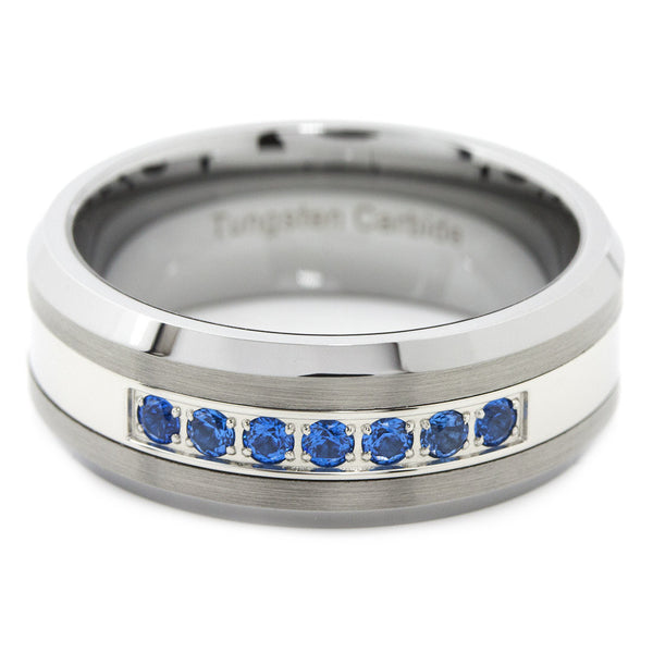 Thin Blue Line Brushed Tungsten Carbide Ring 7 Blue CZ Diamonds 8MM