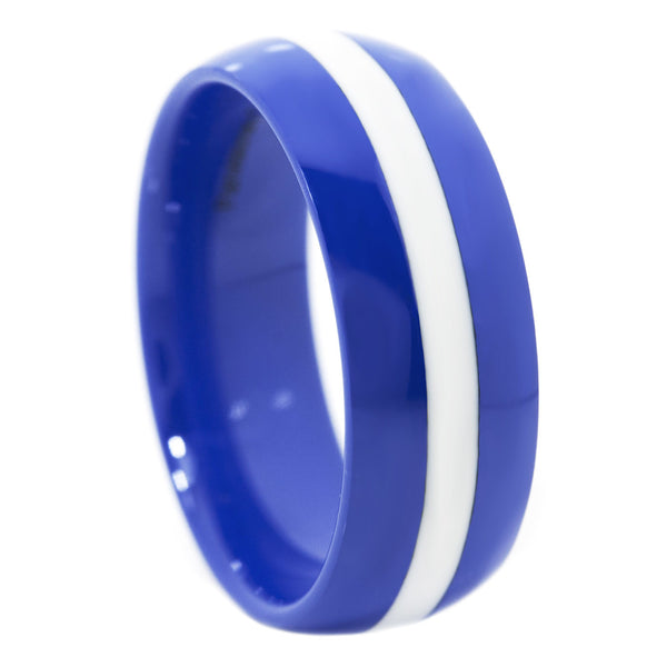 Thin White Line 8mm Ring