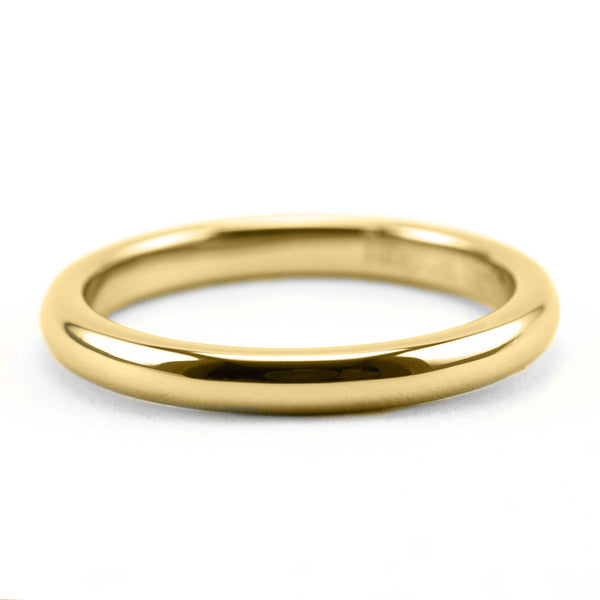 Tungsten 2mm Dome Thin Gold Line Ring