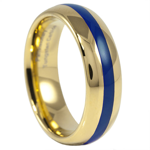 Golden Blue Tungsten Carbide Thin Blue Line Ring 6MM