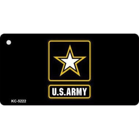 Key Chain US Army Military Star Black and Gold Design