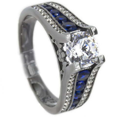 Thin Blue Line Engagement Ring Gunmetal Sterling Silver Brilliant Cut CZ w/ Blue Accents