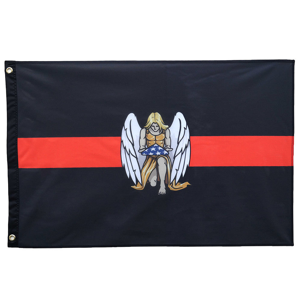 Thin Red Line Firefighter Memorial Flag