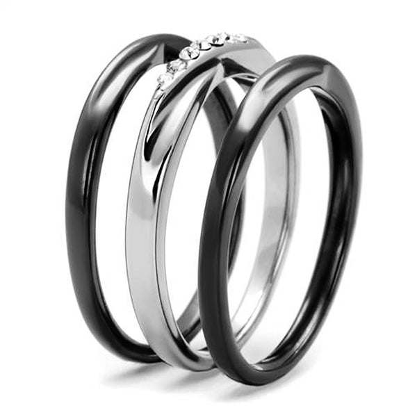 Thin Silver Line Crystal Three Ring Set
