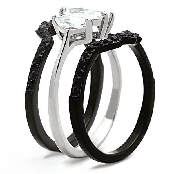 Thin Silver Line Three Marquise Stainless Steel 3 Ring Set