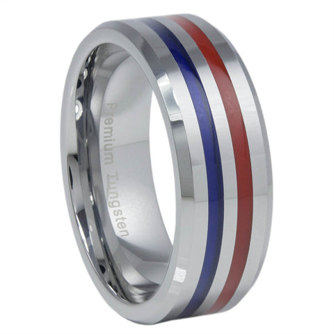 Thin Blue Line Tungsten Carbide Ring Red & Blue 8MM
