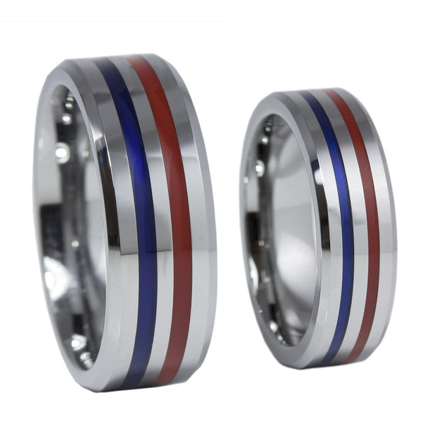 Thin Red Blue Line 8MM Tungsten Carbide Ring Red & Blue Epoxy Inlays