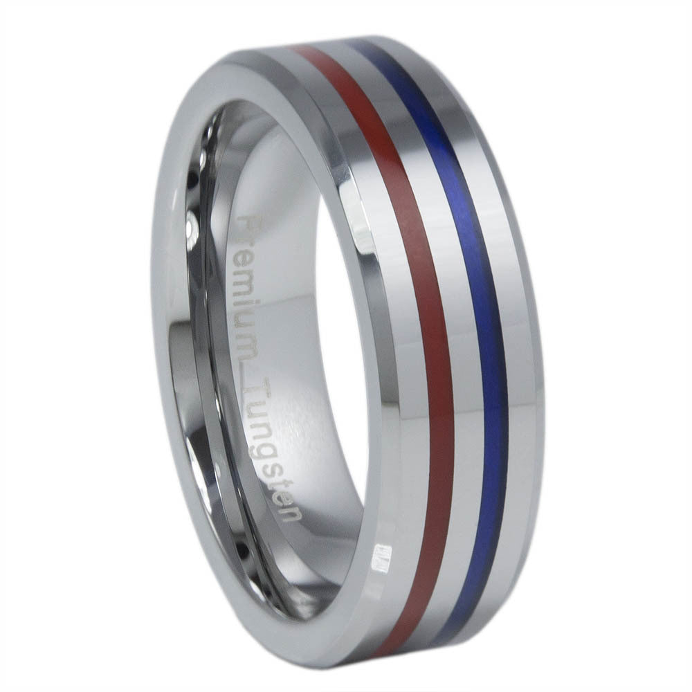 Thin Blue Line Tungsten Carbide Ring Red & Blue 6MM