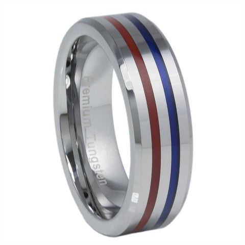 Thin Red Blue Line 6MM Tungsten Carbide Ring Red & Blue Epoxy Inlays