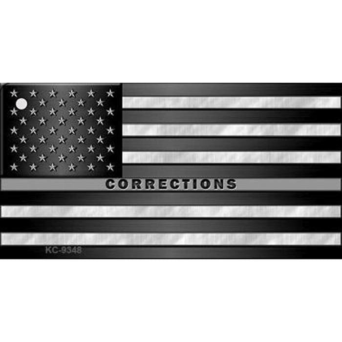 Thin Silver Line Corrections Flag Key Chain
